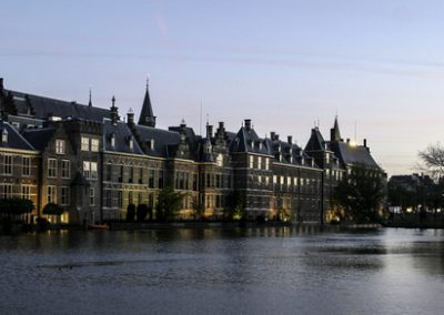 Hofvijver and the buildings of the Dutch parliament in the Hague